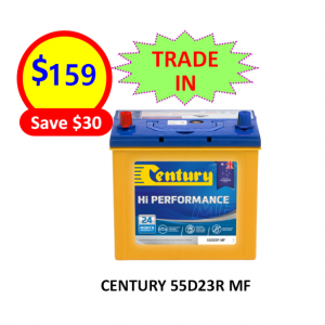55D23R-CARS&PASSENGER VEHICLES-CENTURY BATTERY-12VOLTS