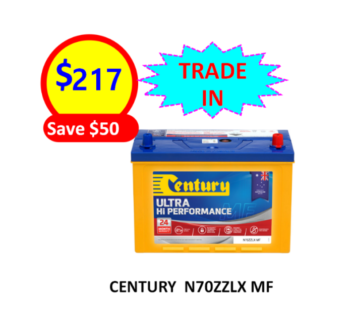 N70ZZLX MF – 4×4&SUVS – CENTURY BATTERY-12VOLTS