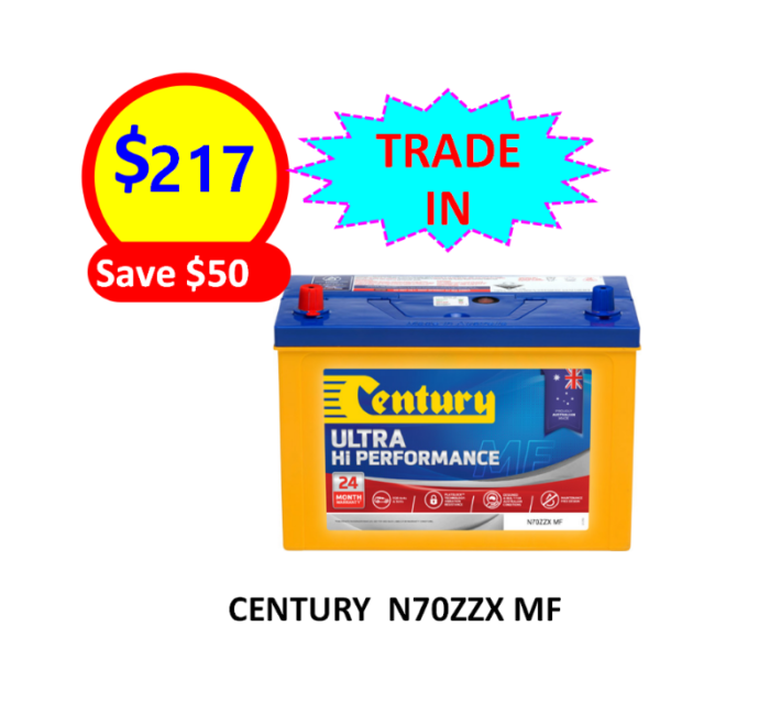N70ZZX MF – 4×4&SUVS – CENTURY BATTERY-12VOLTS